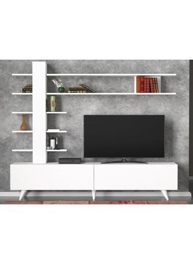 Dekorister Aleyna Duvar Raflı Kitaplıklı Tv Ünitesi Beyaz Beyaz